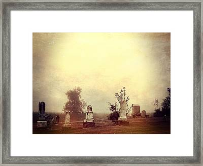 Cemetery In The Fog Framed Print by Dan Sproul