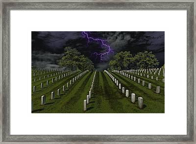 Cemetery Spook Framed Print by Bill Tiepelman