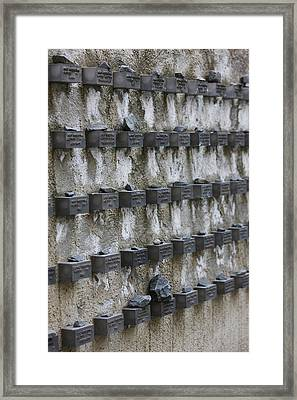 Cemetery Wall With Names Of Holocaust Framed Print