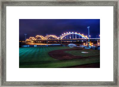 Centennial Bridge And Modern Woodmen Park Framed Print