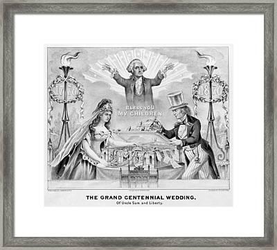 Centennial Cartoon, 1876 Framed Print
