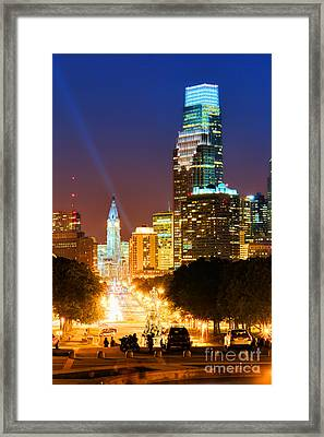 Center City Philadelphia Night Framed Print by Olivier Le Queinec