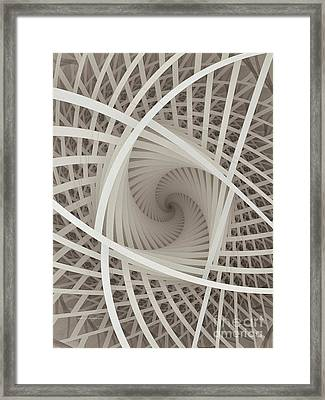 Centered White Spiral-fractal Art Framed Print by Karin Kuhlmann