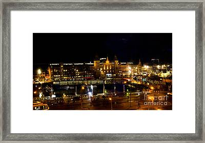 Centraal Station At Night Framed Print by Pravine Chester