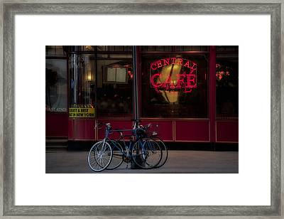Central Cafe Bicycles Framed Print