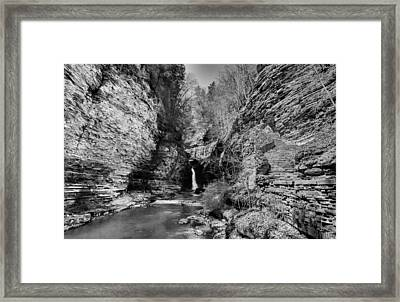 Central Cascade Black And White Framed Print by Joshua House
