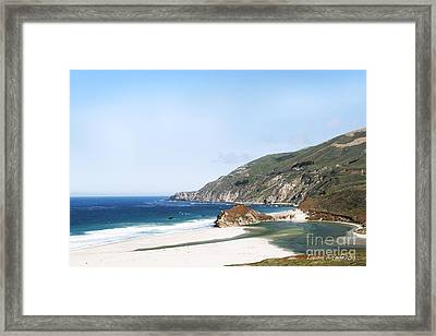 Central Coast Beach Near Cambria And San Simeon Framed Print by Artist and Photographer Laura Wrede