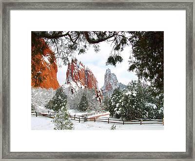Central Garden Of The Gods After A Fresh Snowfall Framed Print
