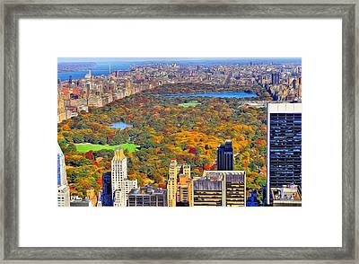 Central Park And Manhattan In Autumn Framed Print