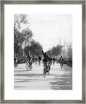 Central Park Bicycle Parade Framed Print by Underwood Archives