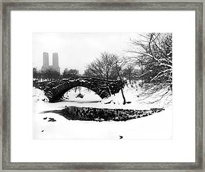 Central Park Duck Pond Framed Print by Underwood Archives
