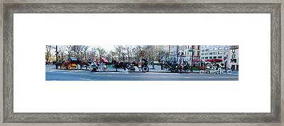 Central Park Horse Carriage Station Panorama Framed Print
