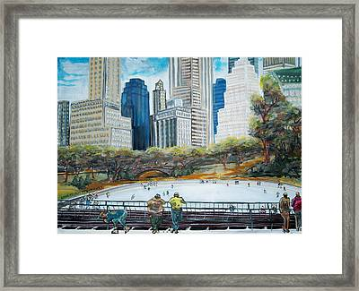 Central Park Ice Rink Framed Print by Mitchell McClenney