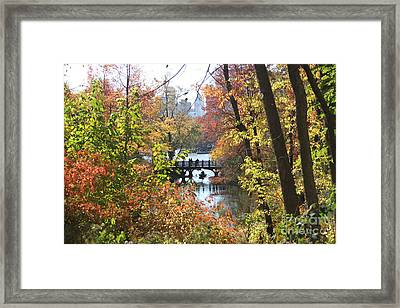 Framed Print featuring the digital art Central Park In The Fall-2 by Steven Spak