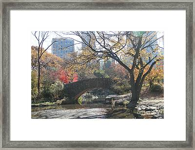 Framed Print featuring the digital art Central Park In The Fall-3 by Steven Spak