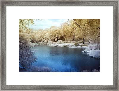 Central Park Lake Infrared Framed Print