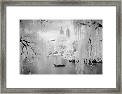 Framed Print featuring the photograph Central Park Lake-infrared Willows by Dave Beckerman