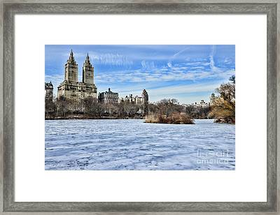 Central Park Lake Looking West Framed Print by Paul Ward