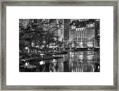 Framed Print featuring the photograph Central Park Lake Night by Dave Beckerman