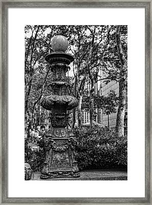 Central Park Lamp Post Framed Print