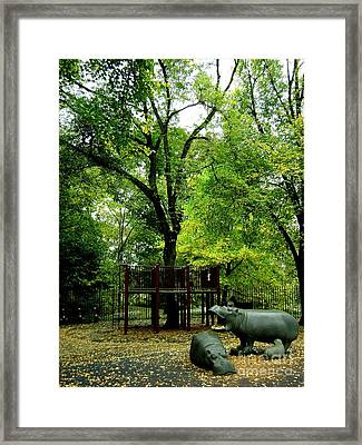 Central Park Playground Framed Print by Claudette Bujold-Poirier