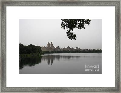 Central Park Reservoir With Reflection Nyc Framed Print by Christiane Schulze Art And Photography