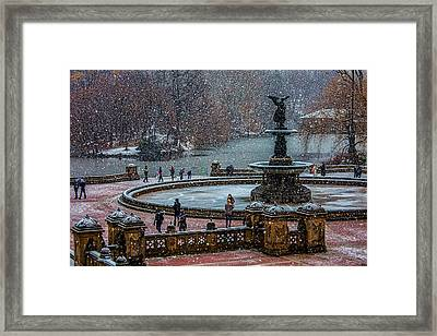 Central Park Snow Storm Framed Print by Chris Lord