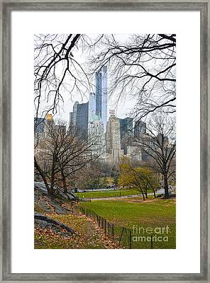 Central Park South Buildings From Central Park Framed Print by RicardMN Photography