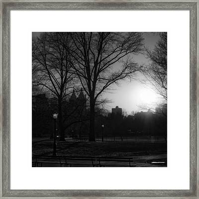 Central Park Sunset In Black And White 3 Framed Print by Marianne Campolongo