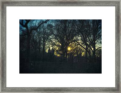 Central Park Vintage Sunset Framed Print by Marianne Campolongo