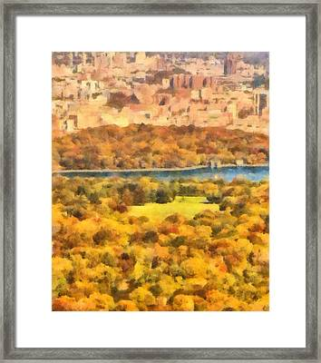 Central Park Watercolor Framed Print by Dan Sproul