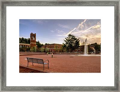 Central Plaza Bench At Wcu Framed Print