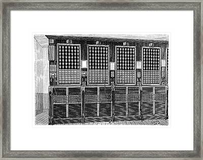 Central Telephone Exchange Framed Print by Science Photo Library