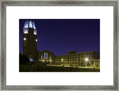 Framed Print featuring the photograph Central Terminal At Night  by Don Nieman