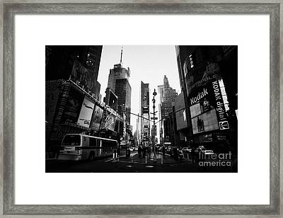 Centre Of Times Square In Daytime With Pedestrians And Metro Bus New York City Framed Print by Joe Fox