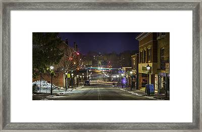 Framed Print featuring the pyrography Centre Street by David Hufstader