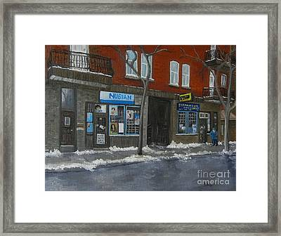 Centre Street Pointe St Charles Framed Print by Reb Frost