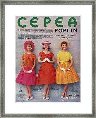 Cepea Poplin 1959 1950s Uk Womens Framed Print by The Advertising Archives