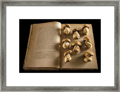 Ceps Mushrooms On An Open Book Framed Print by Aberration Films Ltd