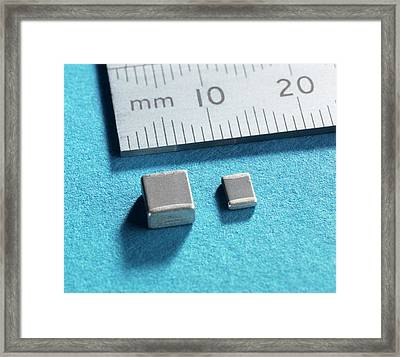 Ceramic Capacitor Framed Print by Andrew Brookes, National Physical Laboratory