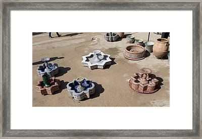 Ceramic Fountains In Yard Of Pottery Framed Print