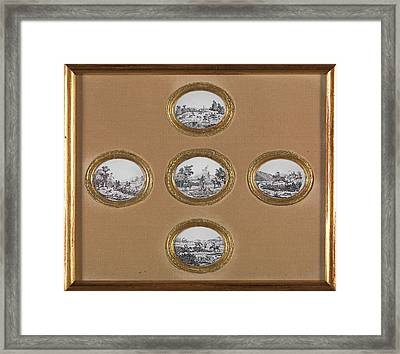 Ceramic Hunting Scenes Five Oval Plaques In One Frame Framed Print