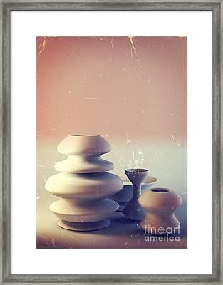 Ceramic Pottery Still Life I - Blue And Orange Sunset Framed Print by Beverly Claire Kaiya
