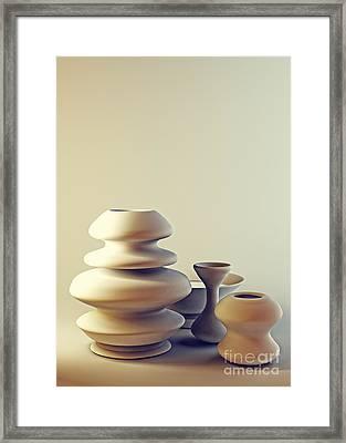 Ceramic Pottery Still Life I - Light And Shadow Framed Print