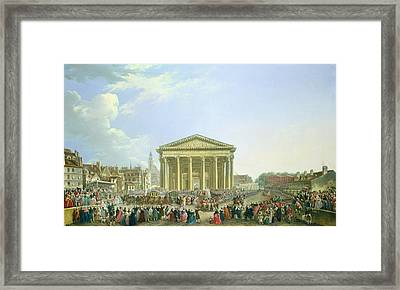 Ceremony Of Laying The First Stone Of The New Church Of St. Genevieve In 1763, 1764 Oil On Canvas Framed Print