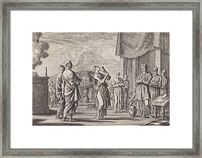 Ceremony Which Tests Female Infidelity, Jan Luyken Framed Print by Jan Luyken And Pieter Mortier