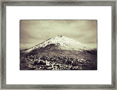 Cerro Rico Potosi Black And White Vintage Framed Print