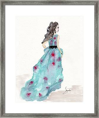 Cerulean Blue Fashion Sketch Dress Framed Print by Janelle Nichol