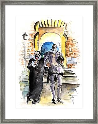 Cervantes And El Greco In Toledo Framed Print by Miki De Goodaboom