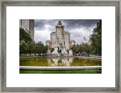 Cervantes Monument In Madrid Framed Print by George Oze